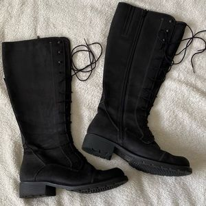 Clarks Black Leather Knee High lace up boots